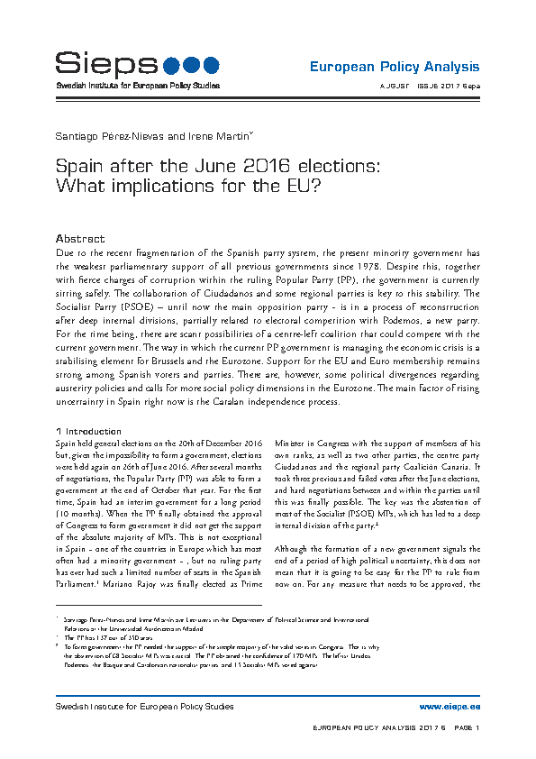 Spain after the June 2016 elections: What implications for the EU? (2017:6epa)