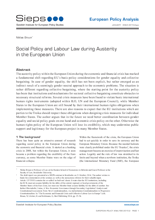 Social Policy and Labour Law during Austerity in the European Union (2015:2epa)