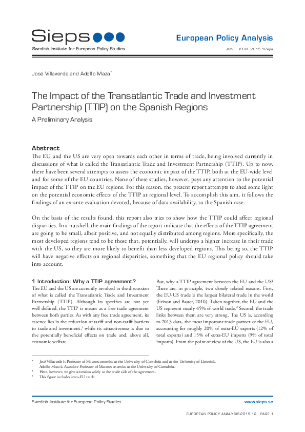 The Impact of the Transatlantic Trade and Investment Partnership (TTIP) on the Spanish Regions: A Preliminary Analysis (2015:12epa)