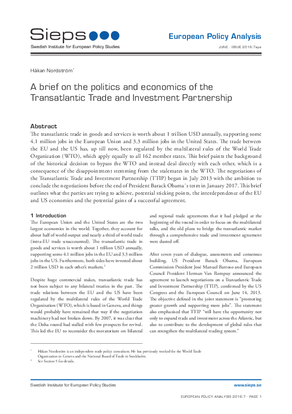 A brief on the politics and economics of the Transatlantic Trade and Investment Partnership (2016:7epa)