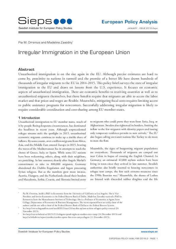 Irregular Immigration in the European Union (2016:2epa)