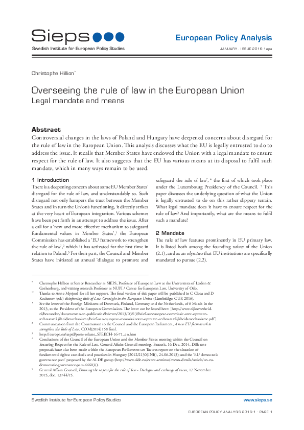 Overseeing the rule of law in the European Union: Legal mandate and means (2016:1epa)