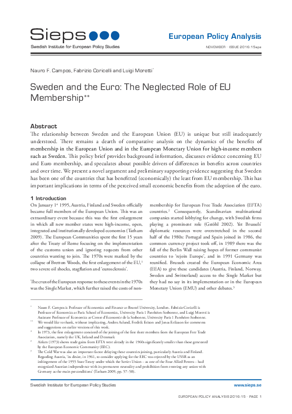 Sweden and the Euro: The Neglected Role of EU Membership (2016:15epa)