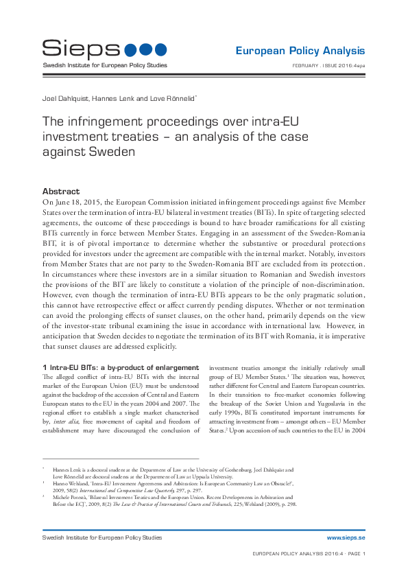 The infringement proceedings over intra-EU investment treaties – an analysis of the case against Sweden (2016:4epa)