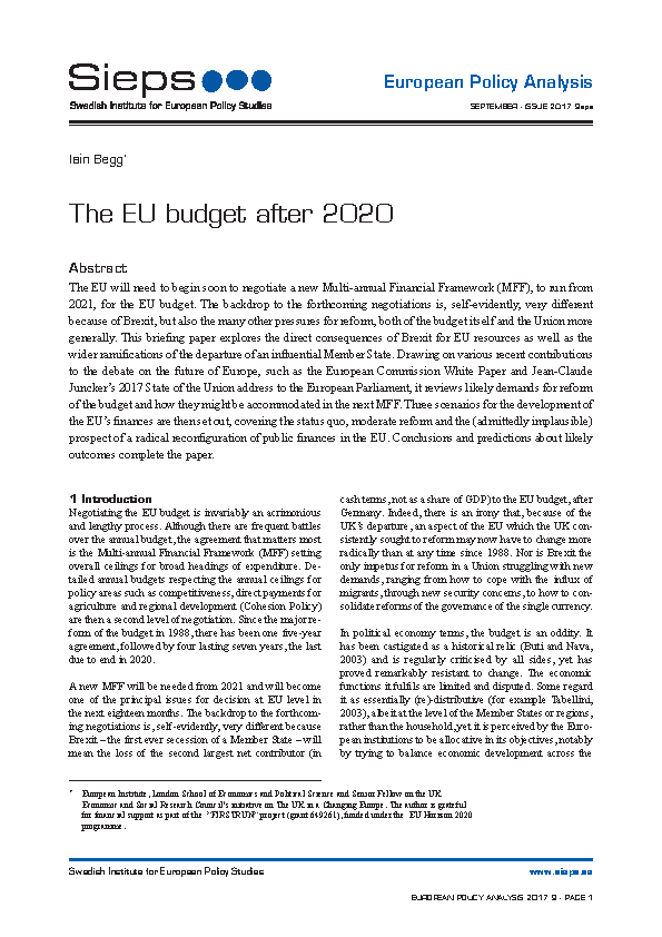 The EU budget after 2020