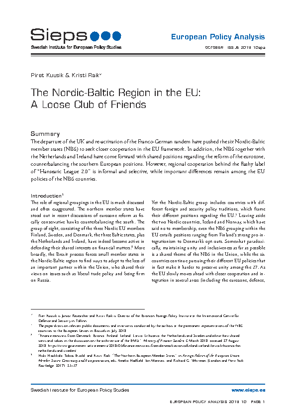 The Nordic-Baltic region in the EU: A loose club of friends