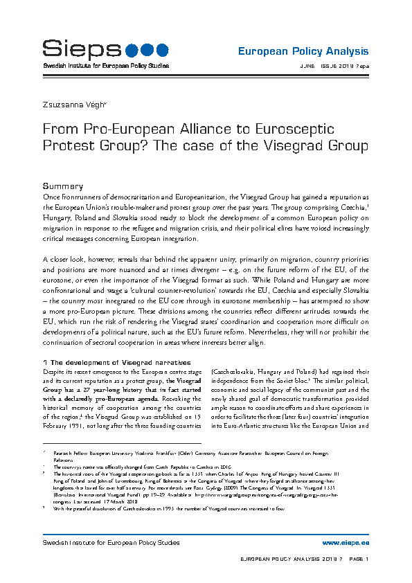 From Pro-European Alliance to Eurosceptic Protest Group? The case of the Visegrad Group