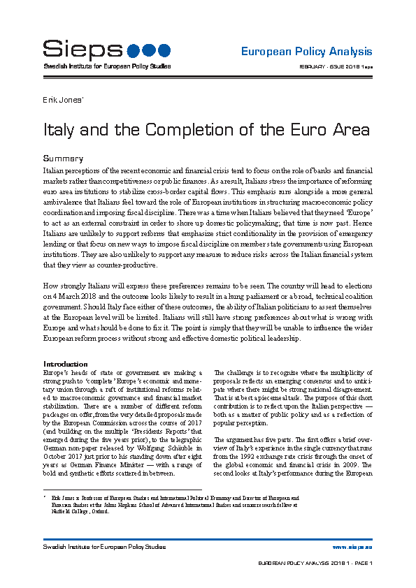 Italy and the Completion of the Euro Area
