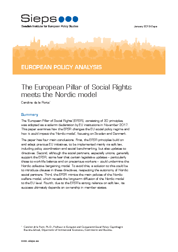 The European Pillar of Social Rights meets the Nordic model