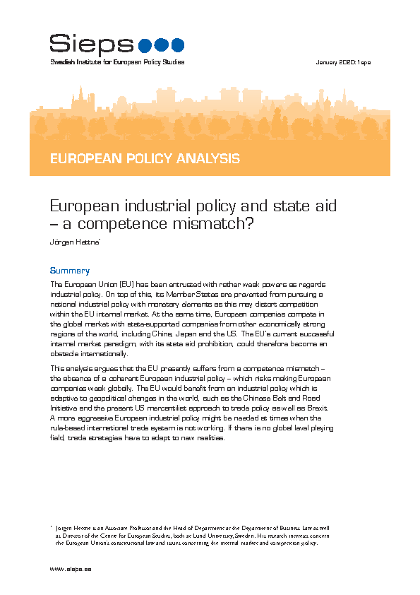European industrial policy and state aid – a competence mismatch?