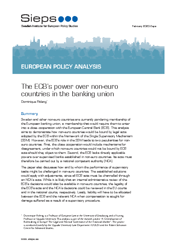 The ECB's power over non-euro countries in the banking union
