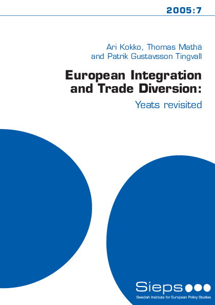 European Integration and Trade Diversion: Yeats revisited (2005:7)
