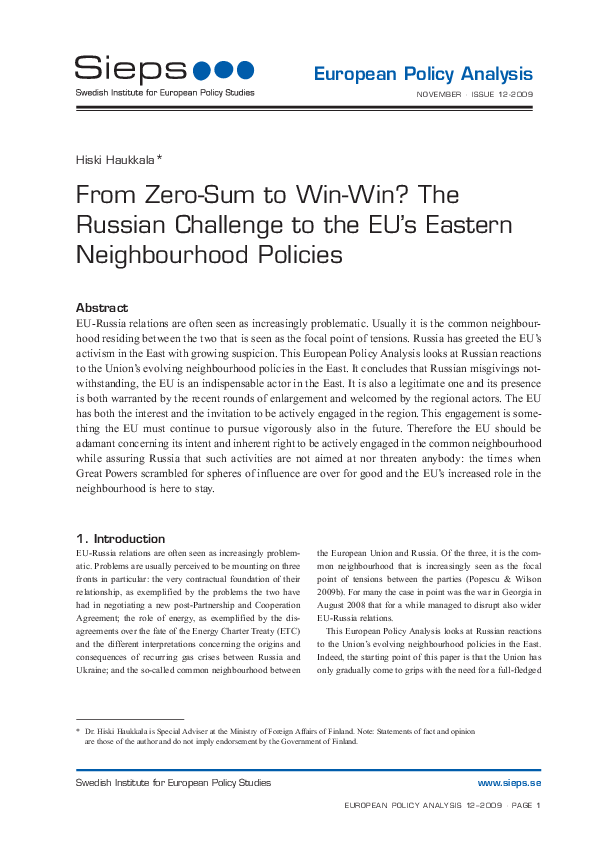 From Zero-Sum to Win-Win? The Russian Challenge to the EUs Eastern Neighbourhood Policies