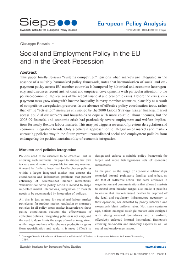 Social and Employment Policy in the EU and in the Great Recession