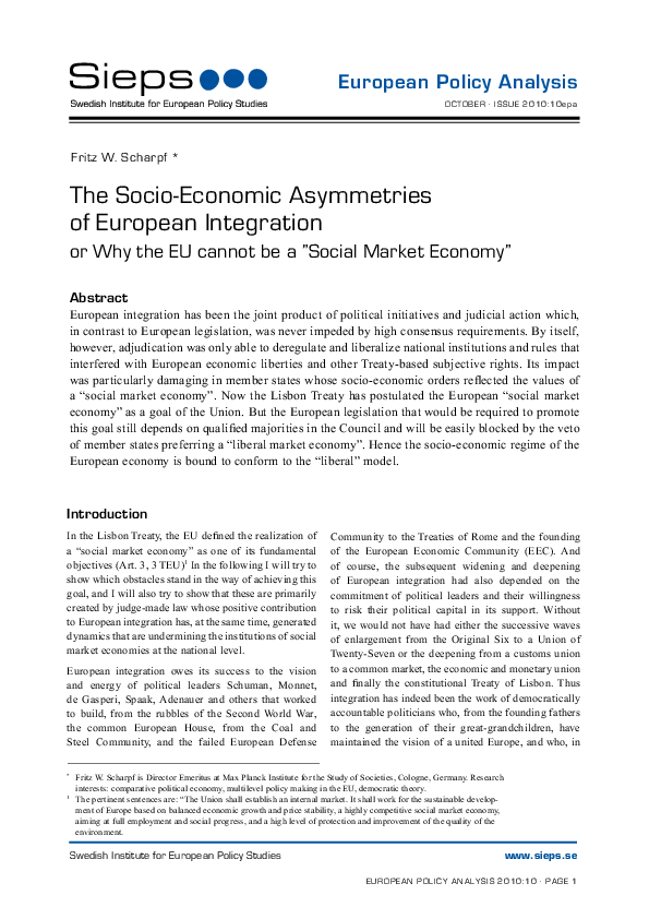The Socio-Economic Asymmetries of European Integration (2010:10epa)