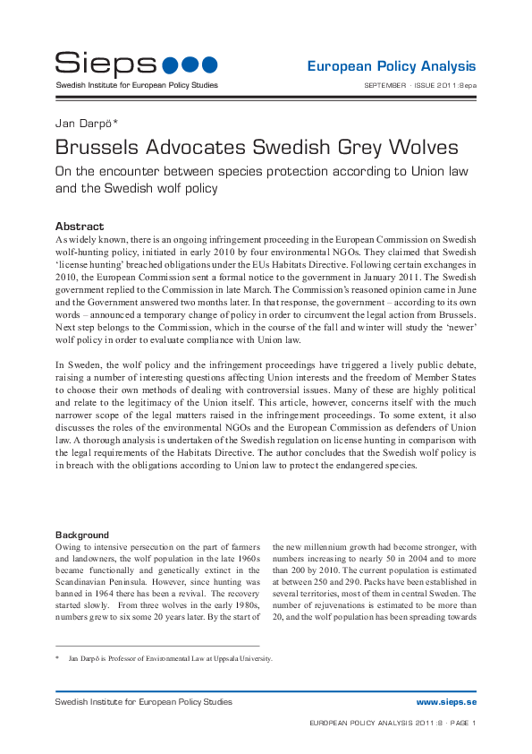 Brussels Advocates Swedish Grey Wolves