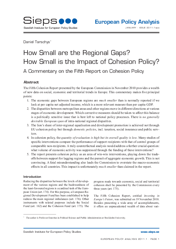 How Small are the Regional Gaps? How Small is the Impact of Cohesion Policy? A Commentary on the Fifth Report on Cohesion Policy