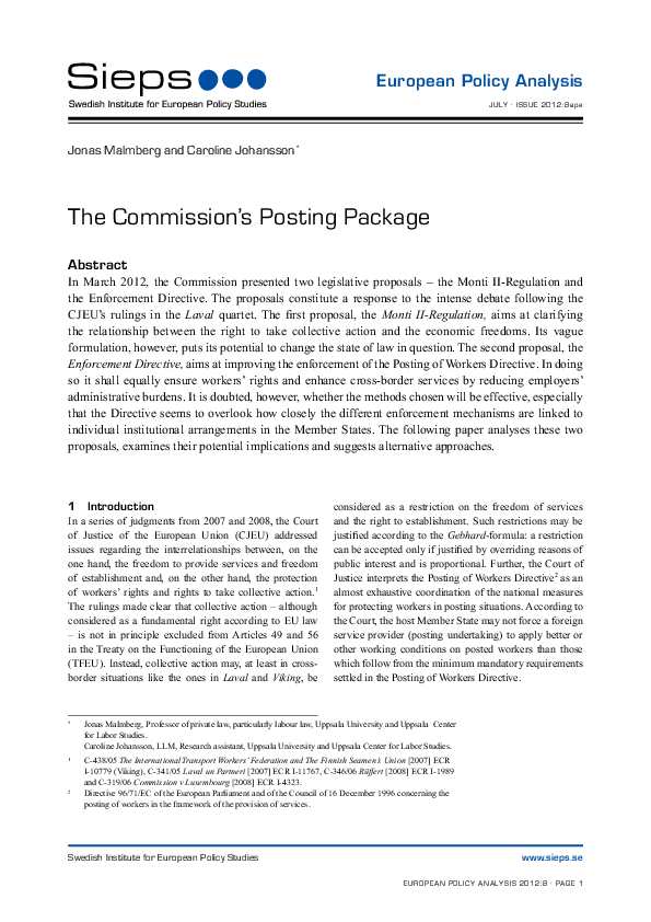 The Commission´s Posting Package (2012:8epa)