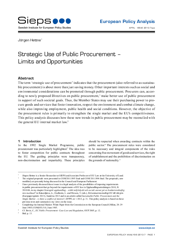 Strategic Use of Public Procurement – Limits and Opportunities (2013:7epa)