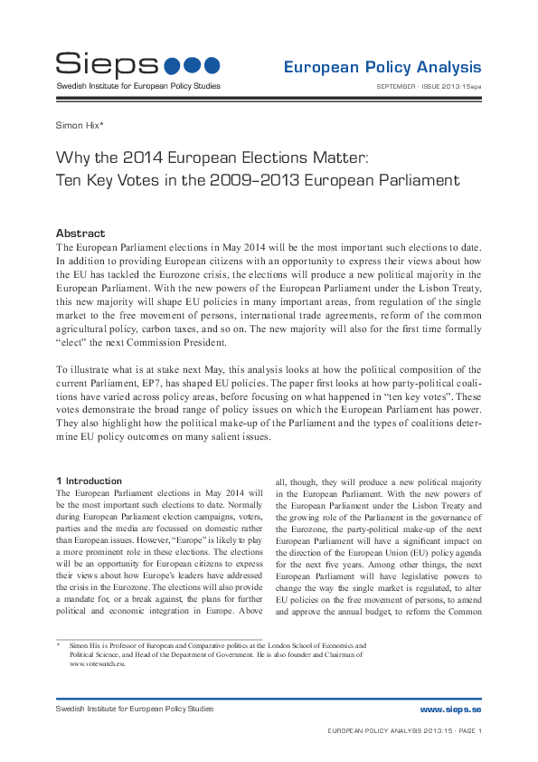 Why the 2014 European Elections Matter: Ten Key Votes in the 2009-2013 European Parliament