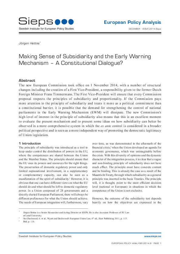 Making Sense of Subsidiarity and the Early Warning Mechanism – A Constitutional Dialogue? (2014:9epa)
