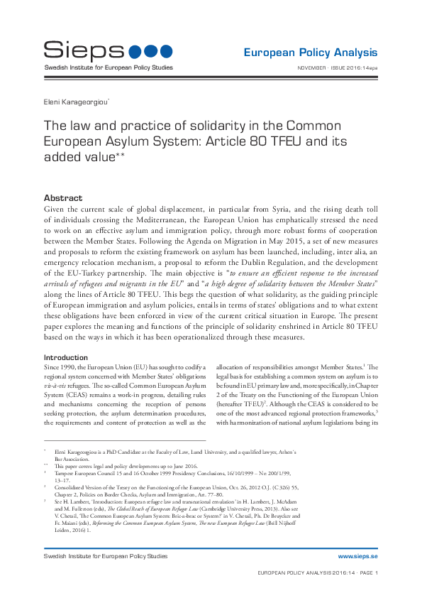 The law and practice of solidarity in the Common European Asylum System: Article 80 TFEU and its added value (2016:14epa)