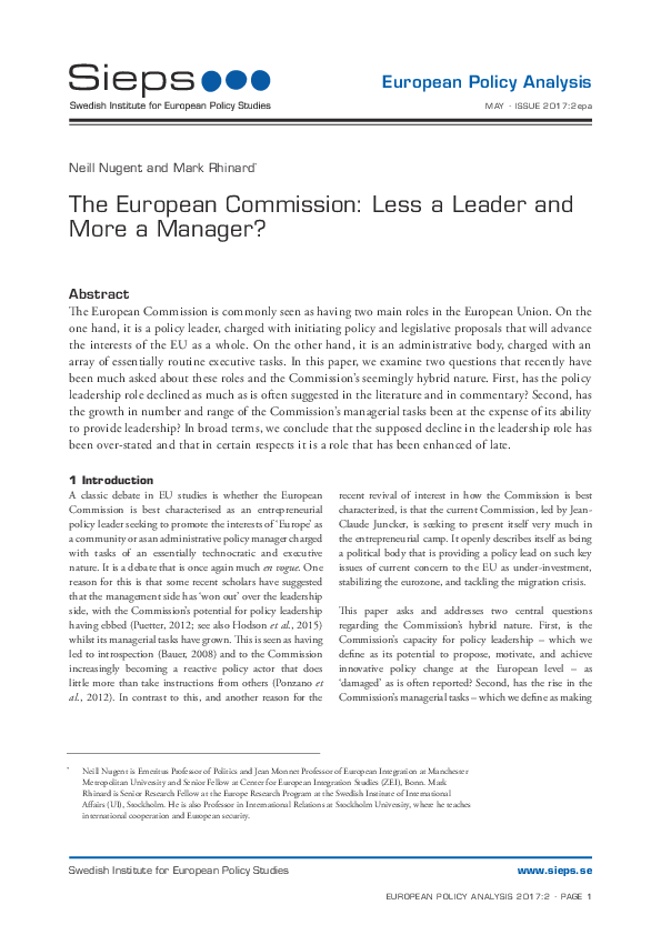 The European Commission: Less a Leader and More a Manager? (2017:2epa)